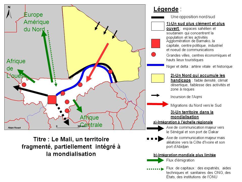 Légende : Europe Amérique du Nord Afrique de L ouest Afrique Centrale