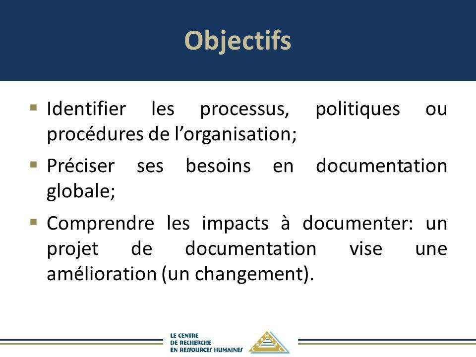 Objectifs Identifier les processus, politiques ou procédures de l'organisation; Préciser ses besoins en documentation globale;