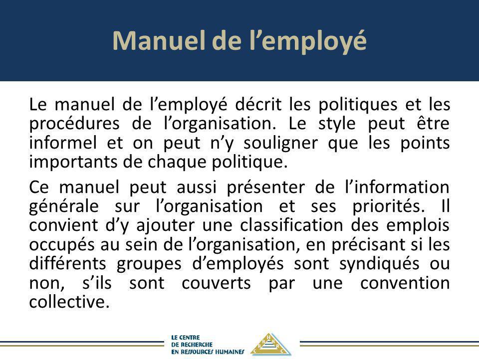 Manuel de l'employé
