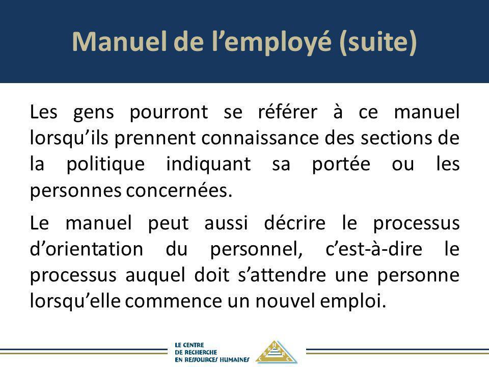 Manuel de l'employé (suite)