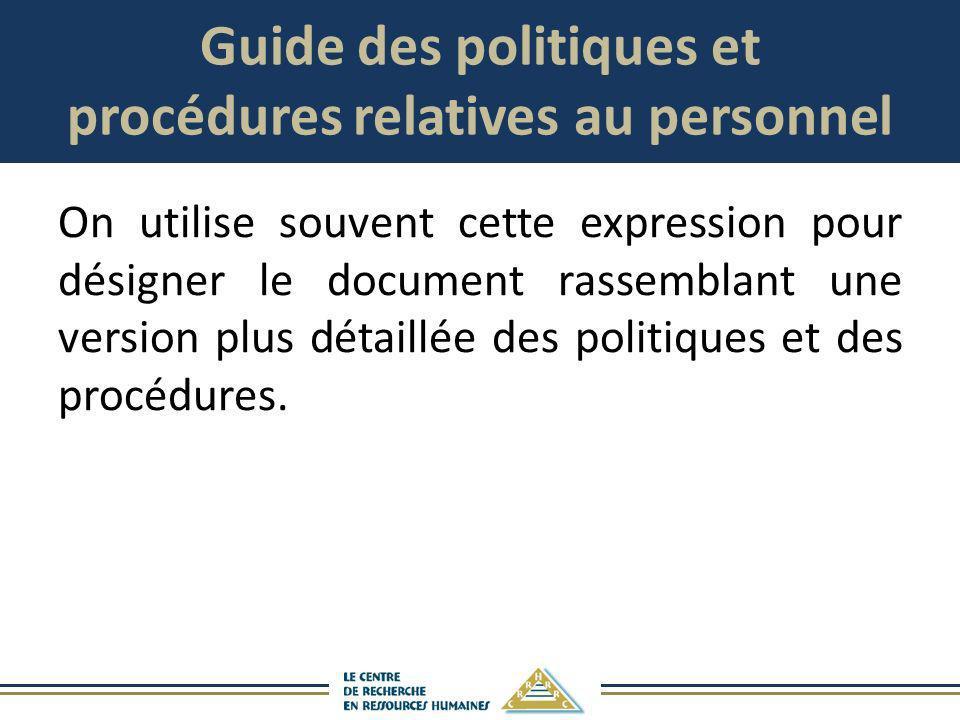 Guide des politiques et procédures relatives au personnel