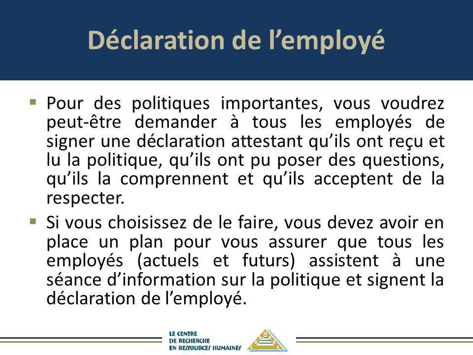 Déclaration de l'employé