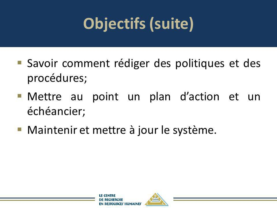 Objectifs (suite) Savoir comment rédiger des politiques et des procédures; Mettre au point un plan d'action et un échéancier;