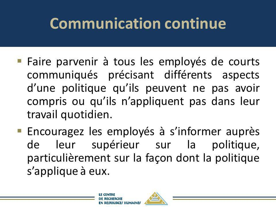 Communication continue