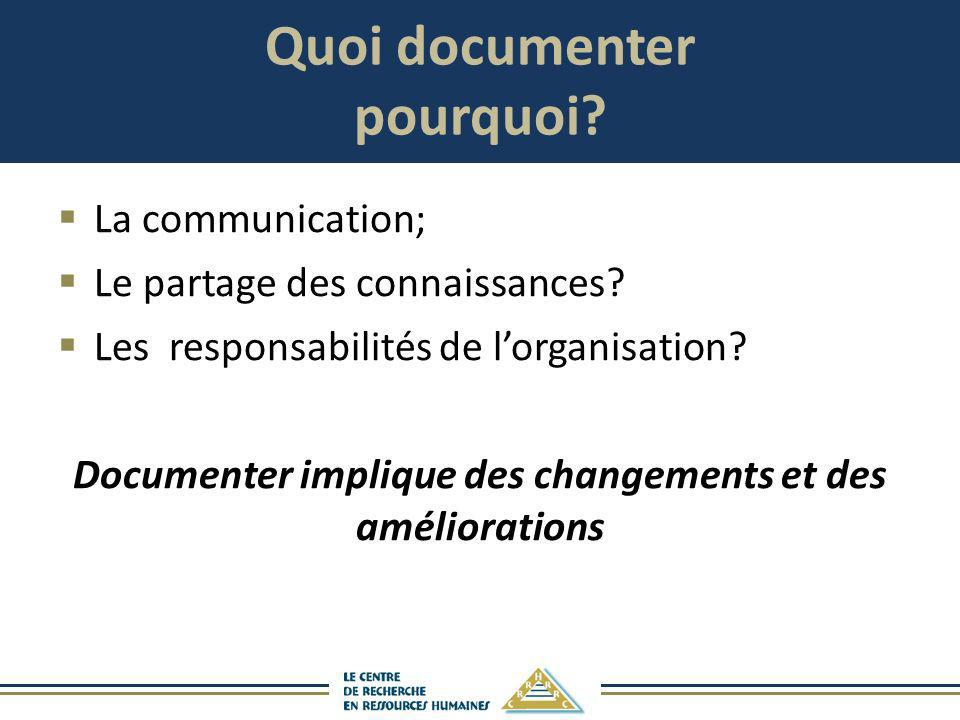 Quoi documenter pourquoi