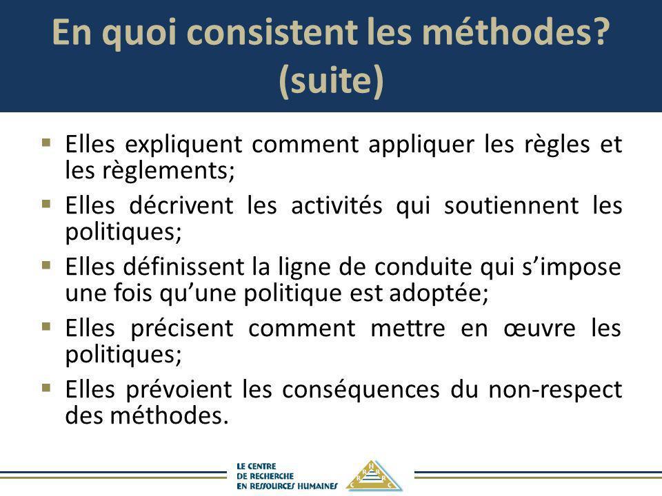 En quoi consistent les méthodes (suite)