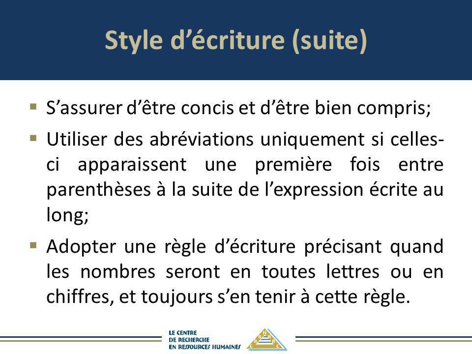 Style d'écriture (suite)