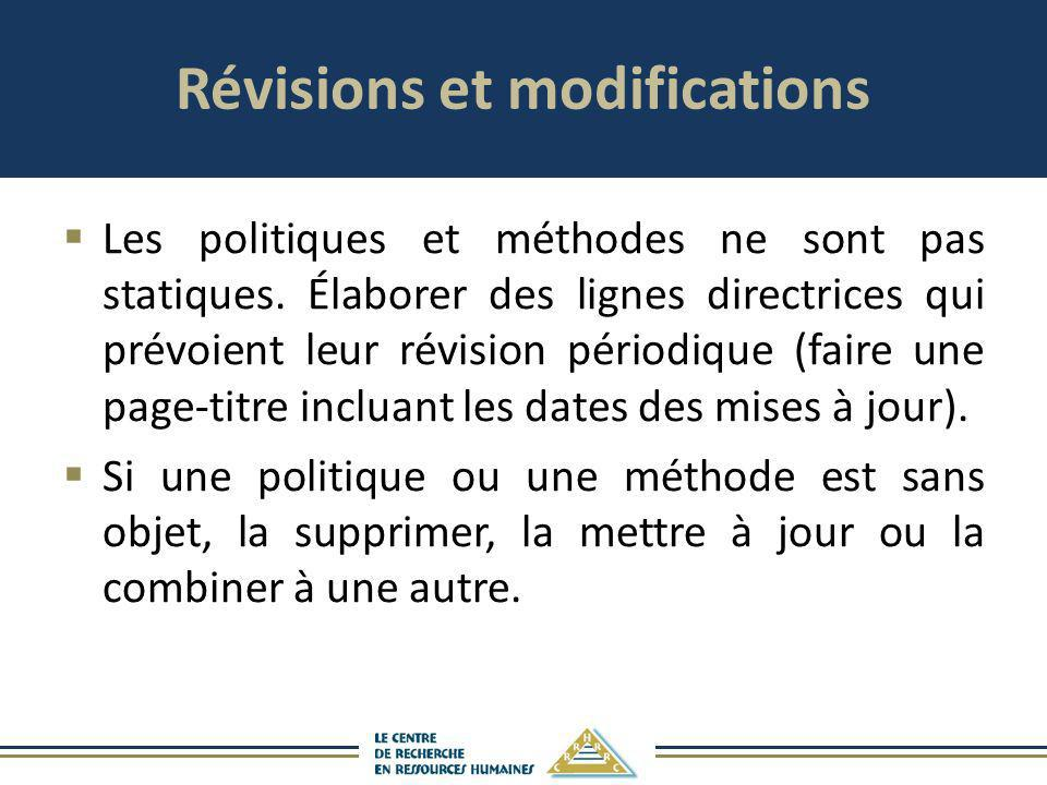 Révisions et modifications