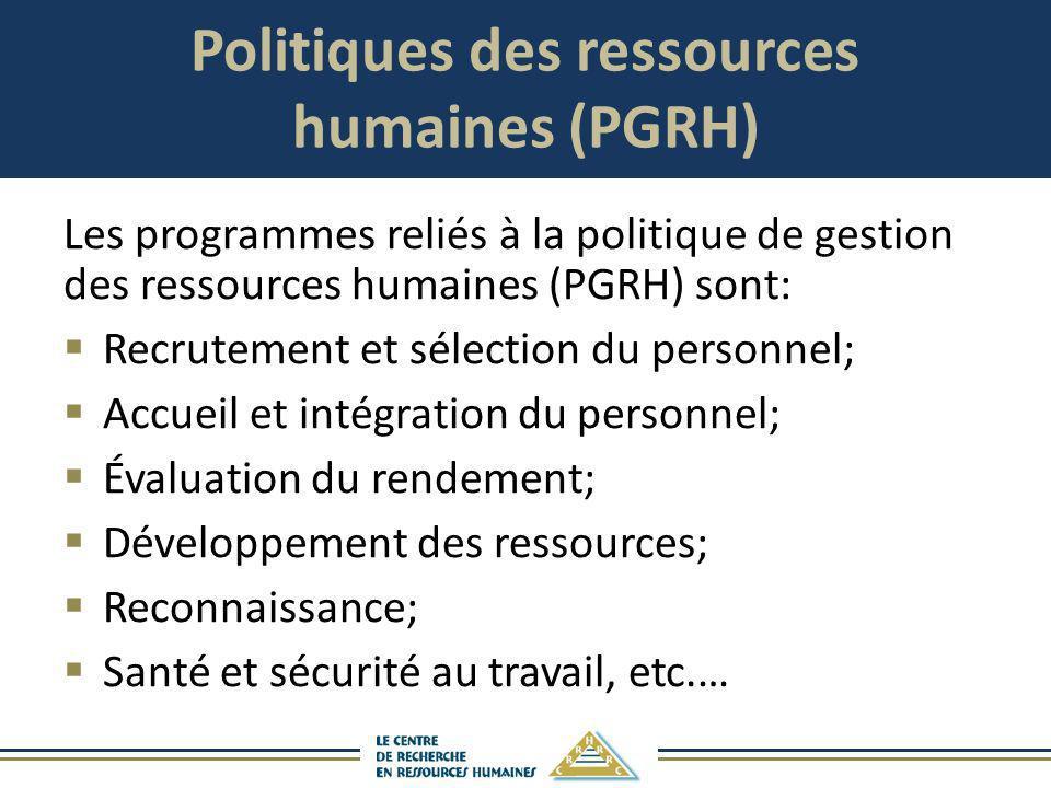 Politiques des ressources humaines (PGRH)