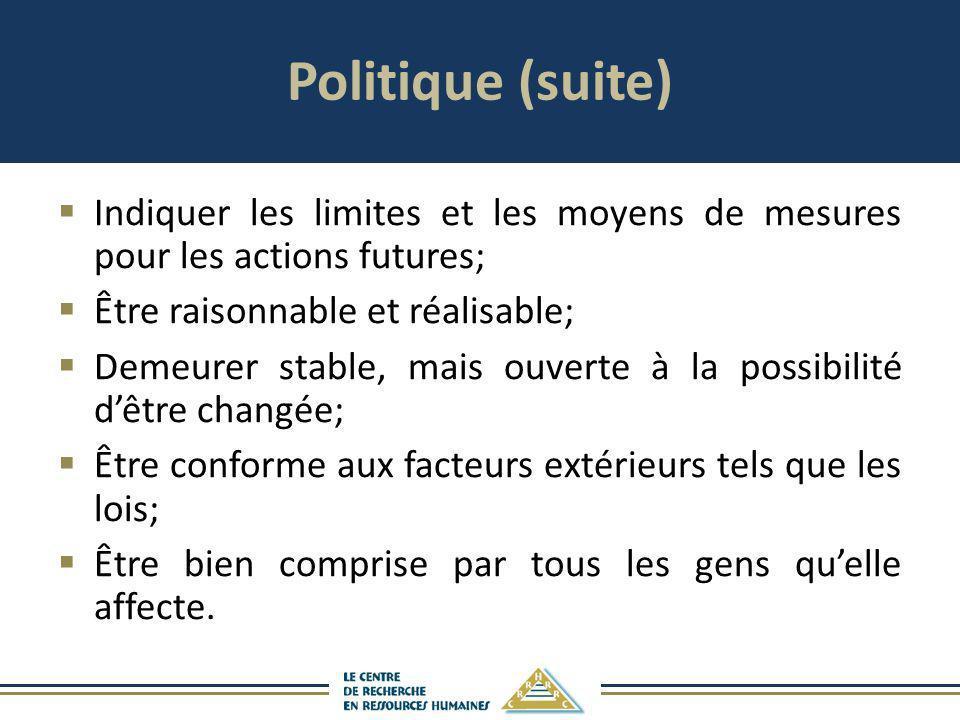Politique (suite) Indiquer les limites et les moyens de mesures pour les actions futures; Être raisonnable et réalisable;