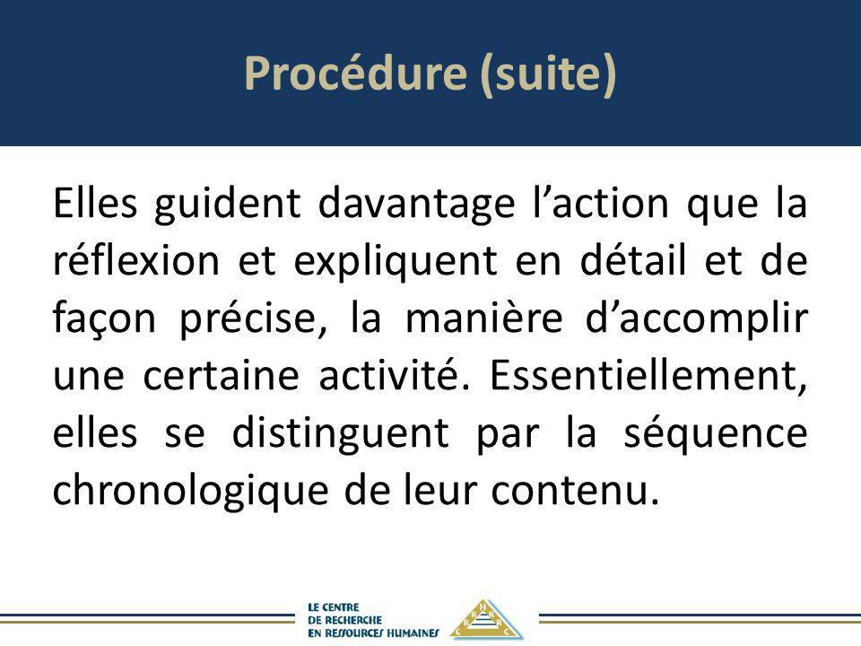 Procédure (suite)