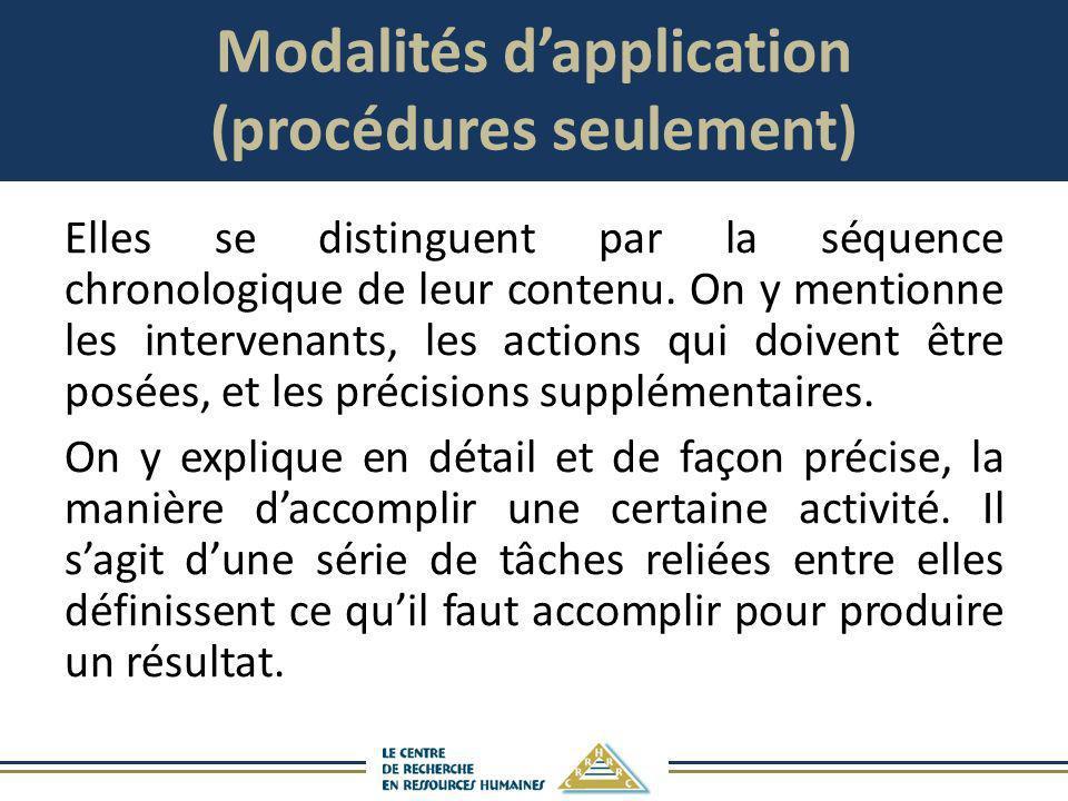 Modalités d'application (procédures seulement)