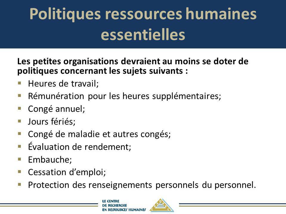 Politiques ressources humaines essentielles