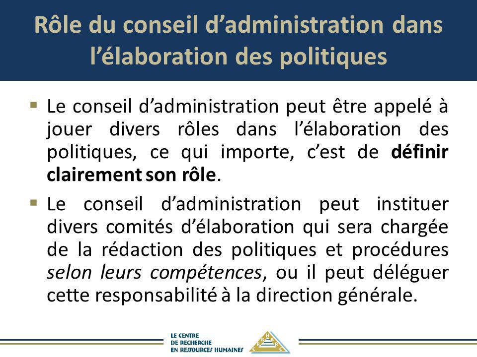 Rôle du conseil d'administration dans l'élaboration des politiques