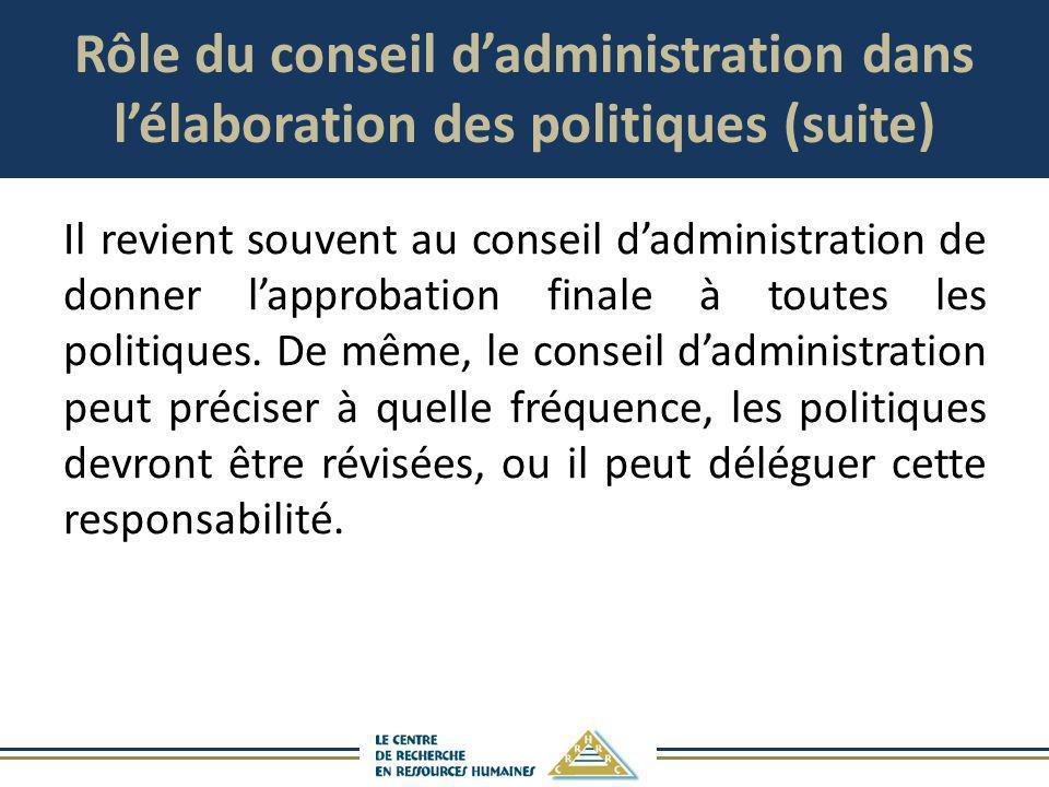 Rôle du conseil d'administration dans l'élaboration des politiques (suite)