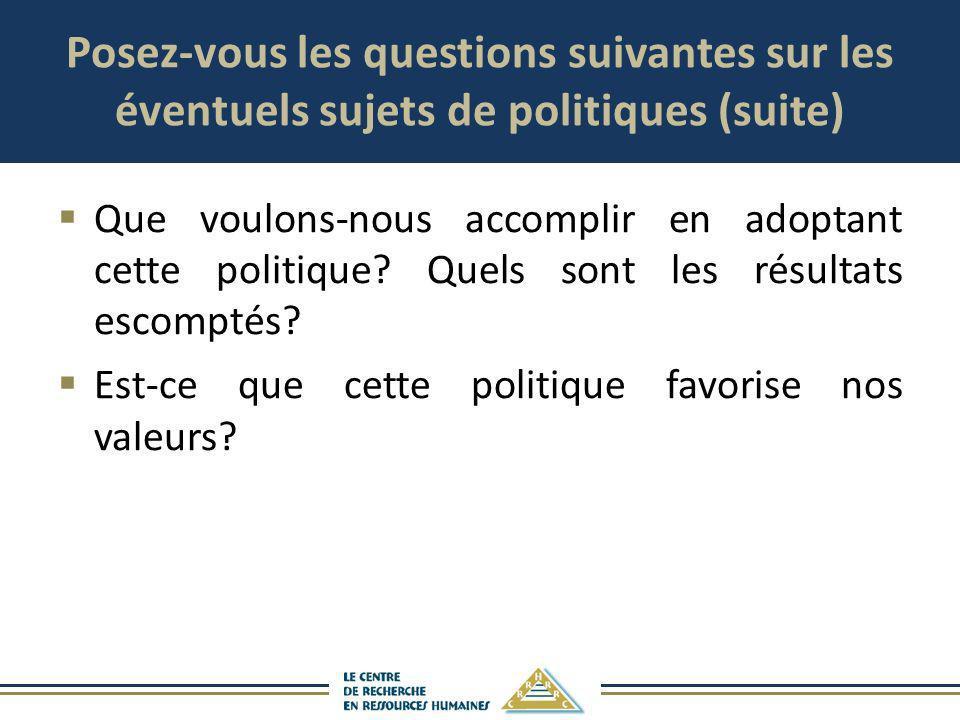 Posez-vous les questions suivantes sur les éventuels sujets de politiques (suite)