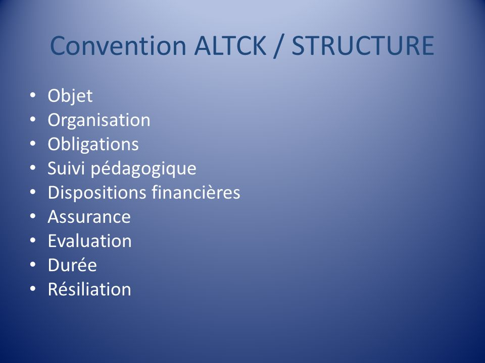 Convention ALTCK / STRUCTURE