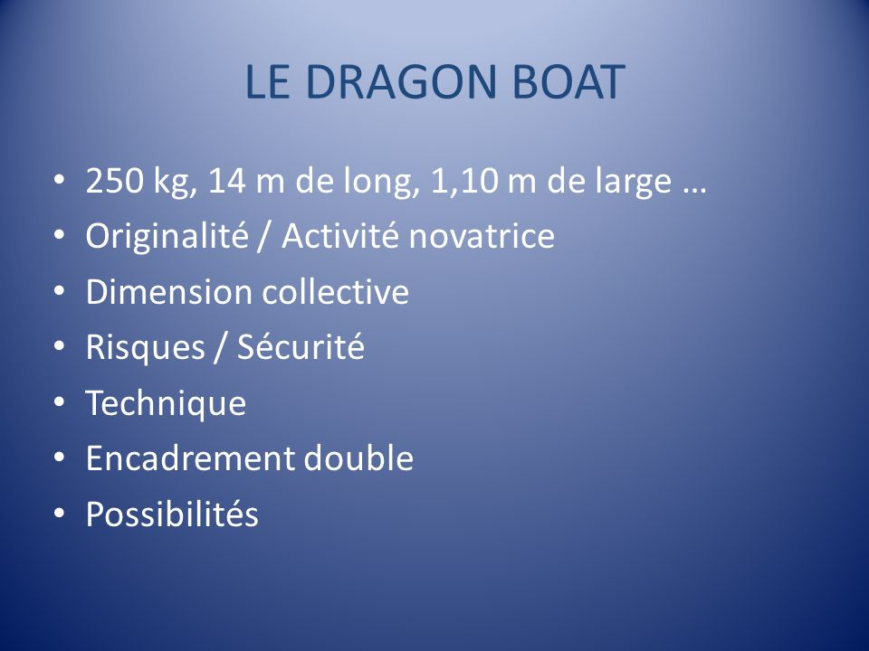 LE DRAGON BOAT 250 kg, 14 m de long, 1,10 m de large …