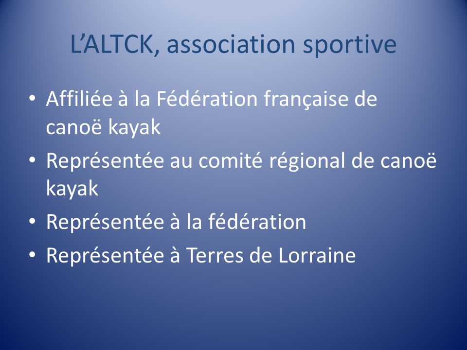L'ALTCK, association sportive