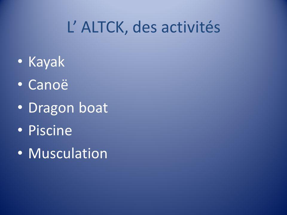 L' ALTCK, des activités Kayak Canoë Dragon boat Piscine Musculation