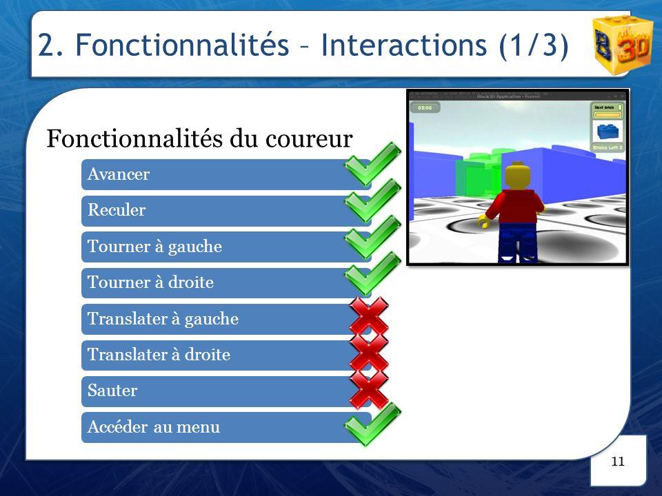 2. Fonctionnalités – Interactions (2/3)