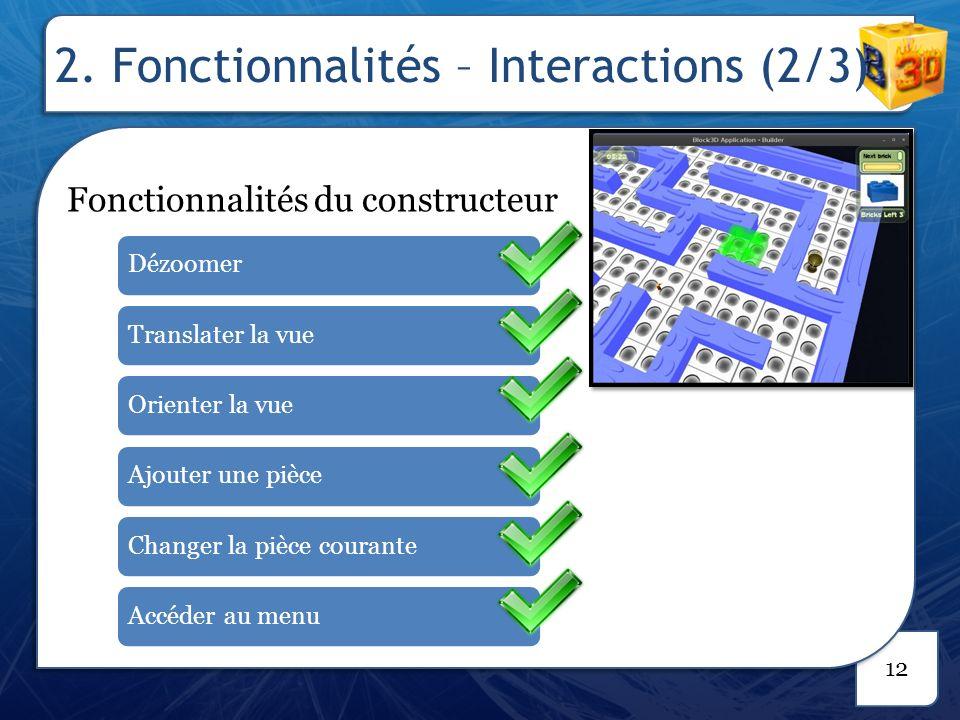 2. Fonctionnalités – Interactions (3/3)
