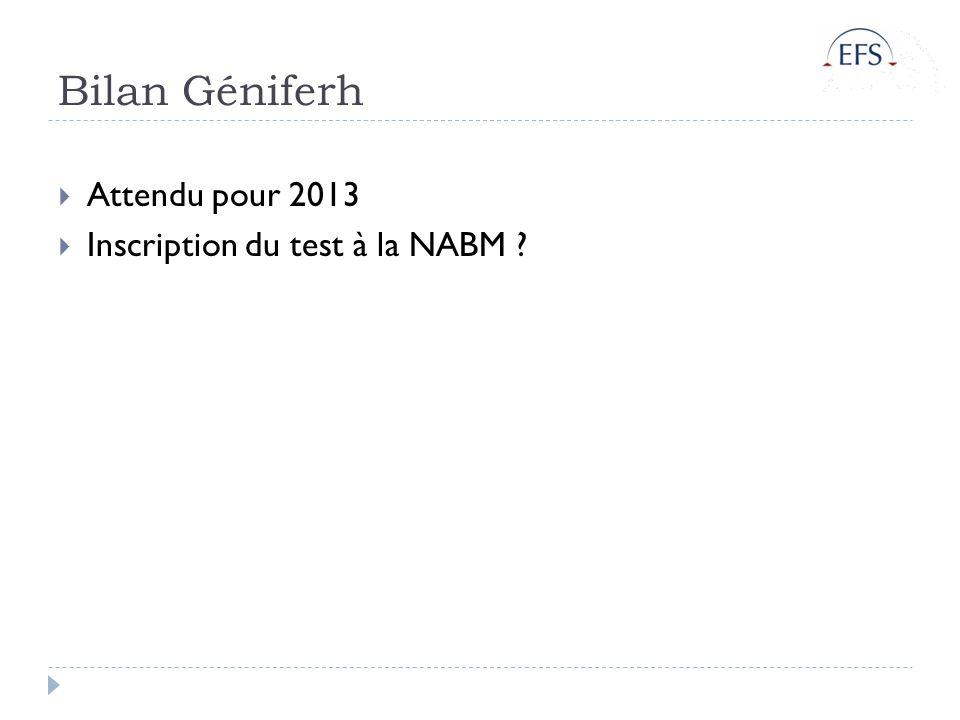 Bilan Géniferh Attendu pour 2013 Inscription du test à la NABM