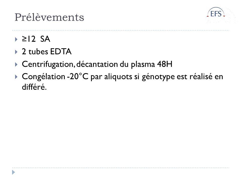 Prélèvements ≥12 SA 2 tubes EDTA