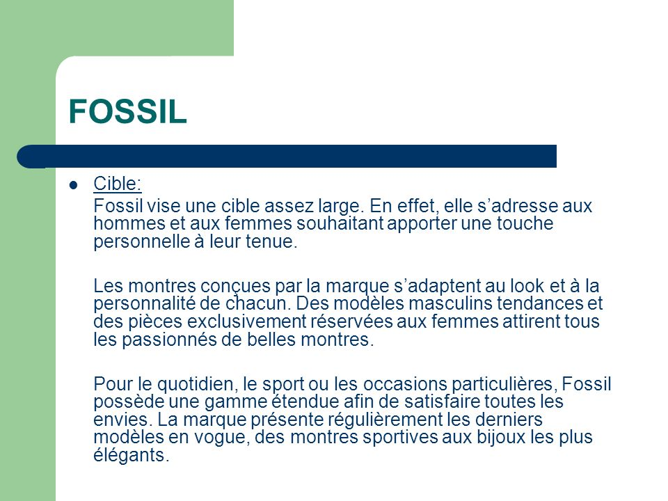 FOSSIL Cible: