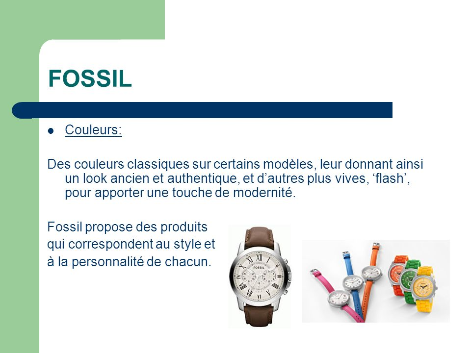 FOSSIL Couleurs: