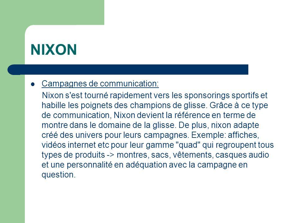 NIXON Campagnes de communication: