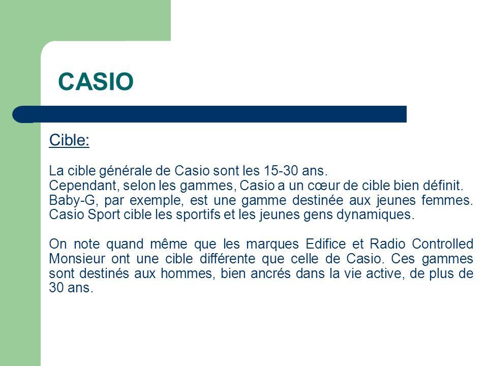 CASIO Cible: La cible générale de Casio sont les 15-30 ans.