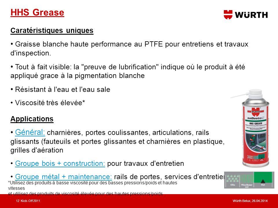 HHS Grease Caratéristiques uniques. Graisse blanche haute performance au PTFE pour entretiens et travaux d inspection.