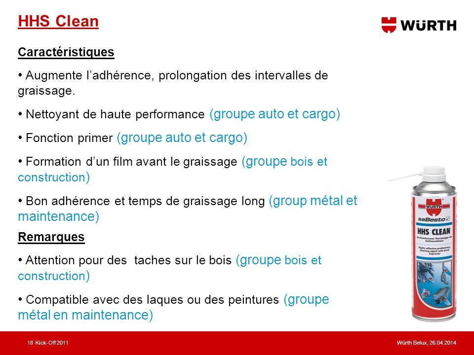HHS Clean Caractéristiques. Augmente l'adhérence, prolongation des intervalles de graissage. Nettoyant de haute performance (groupe auto et cargo)