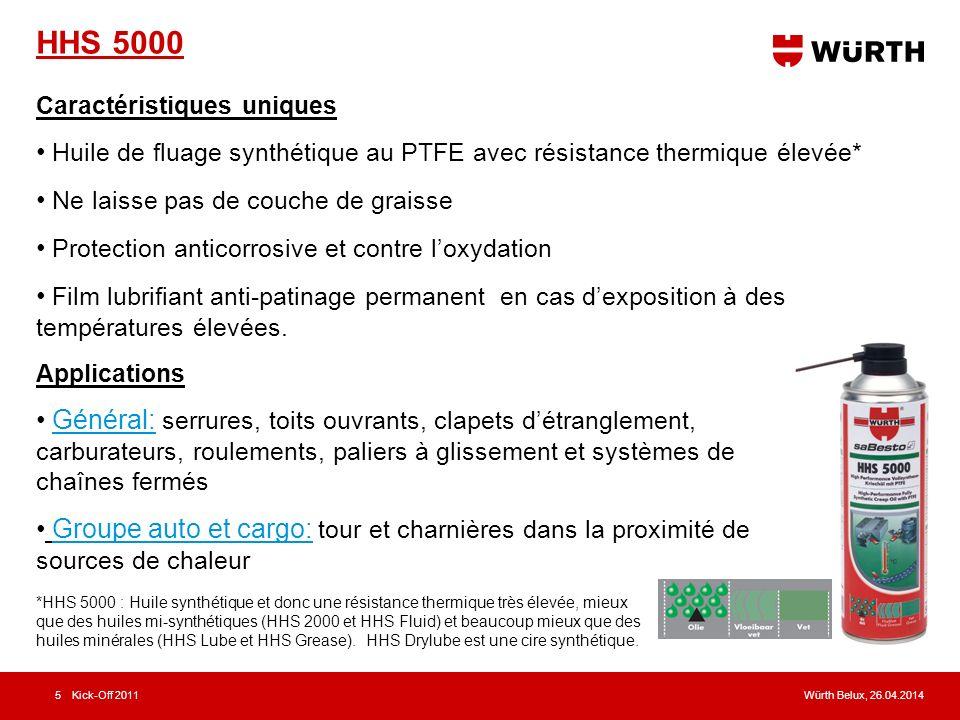 HHS 5000 Caractéristiques uniques. Huile de fluage synthétique au PTFE avec résistance thermique élevée*