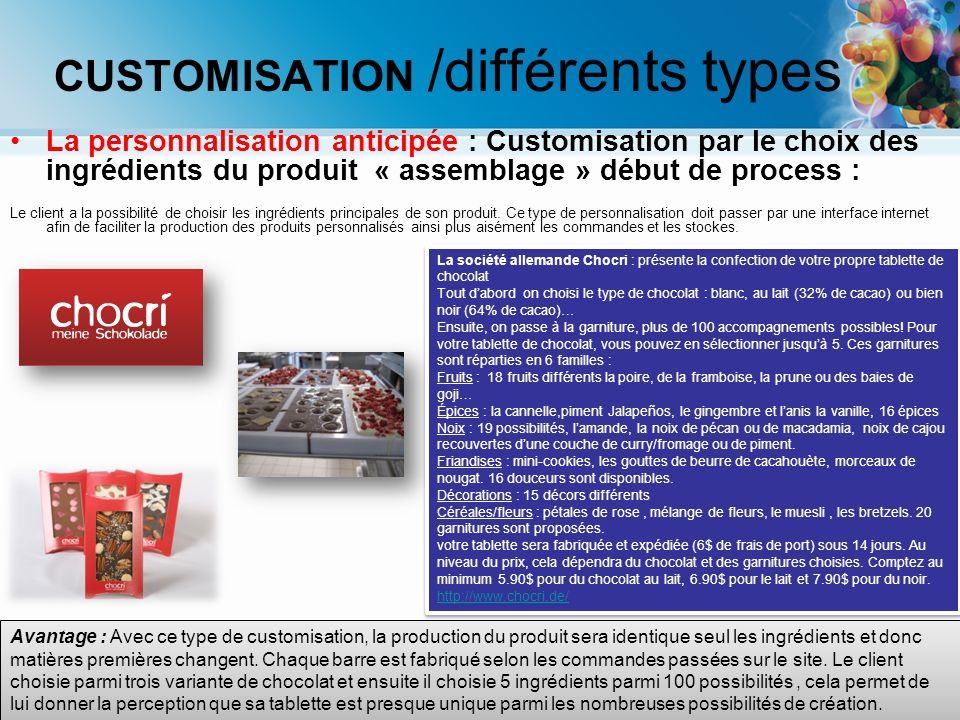 CUSTOMISATION /différents types