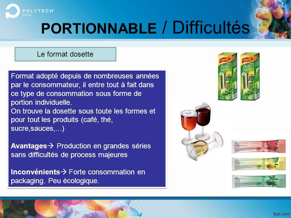 PORTIONNABLE / Difficultés