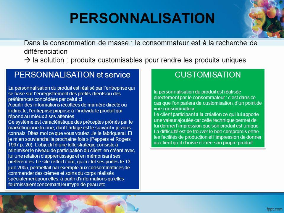 PERSONNALISATION et service