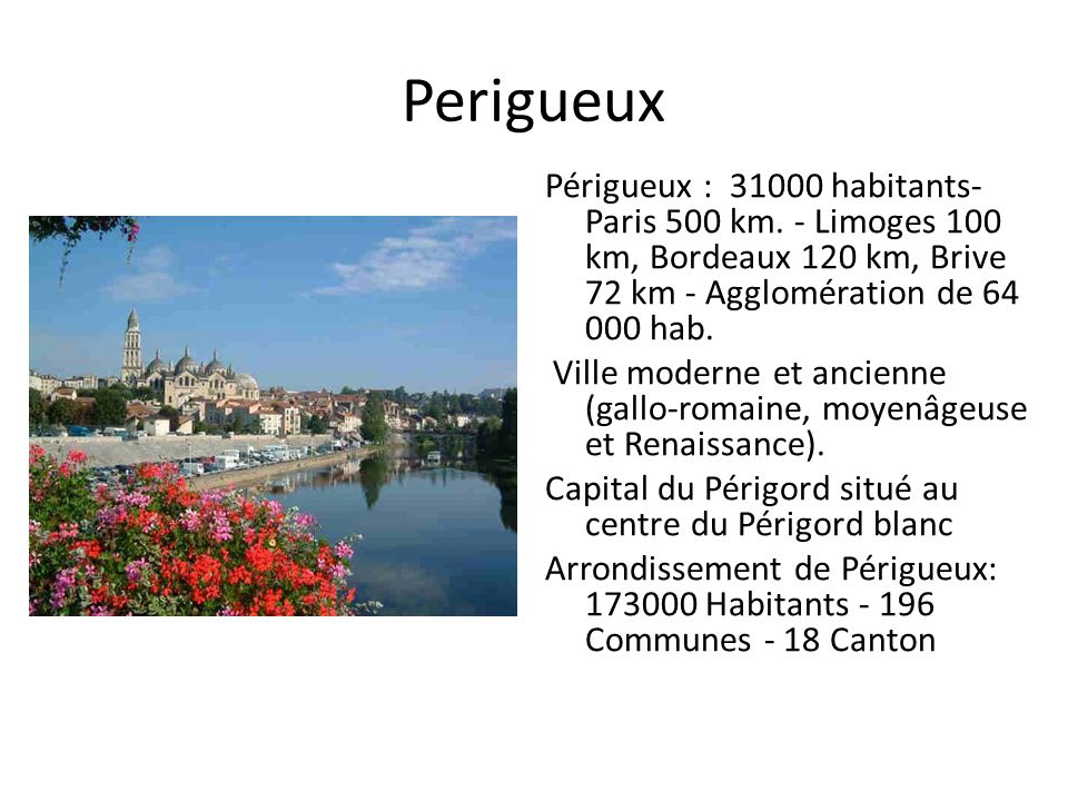 Perigueux Périgueux : 31000 habitants- Paris 500 km. - Limoges 100 km, Bordeaux 120 km, Brive 72 km - Agglomération de 64 000 hab.