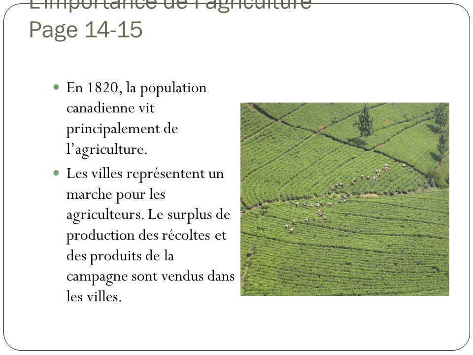 L'importance de l'agriculture Page 14-15