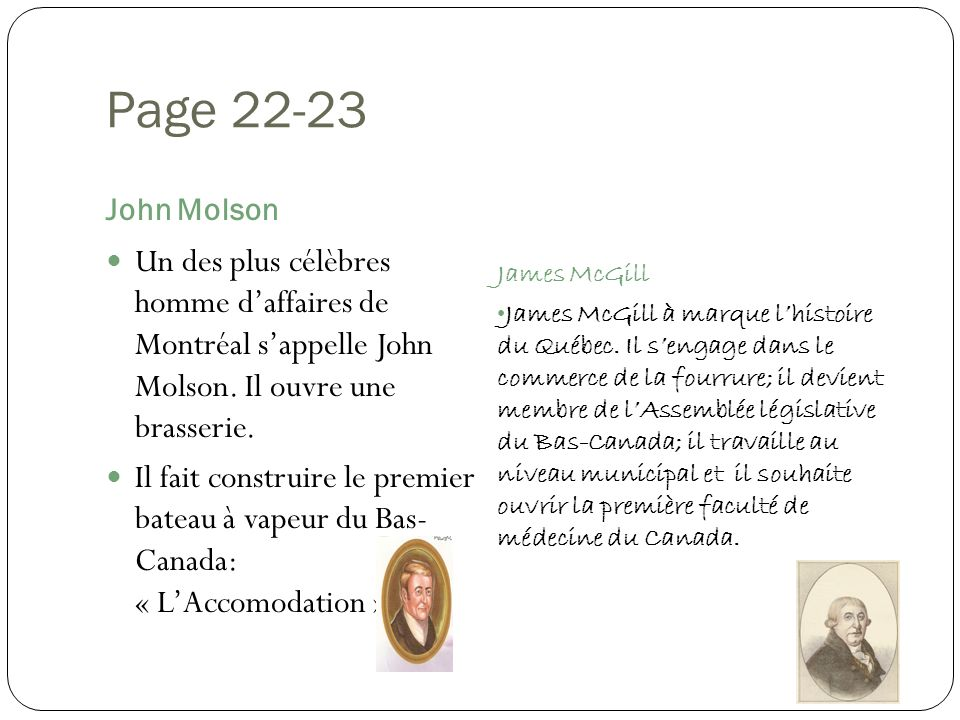 Page 22-23 John Molson. James McGill.