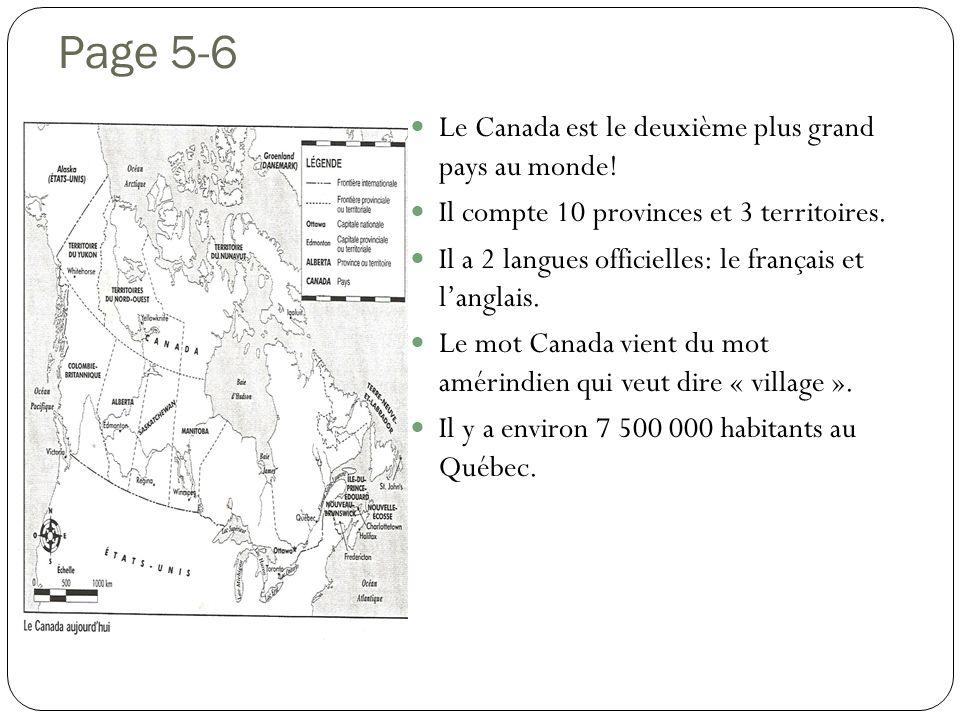 Page 5-6 Le Canada est le deuxième plus grand pays au monde!