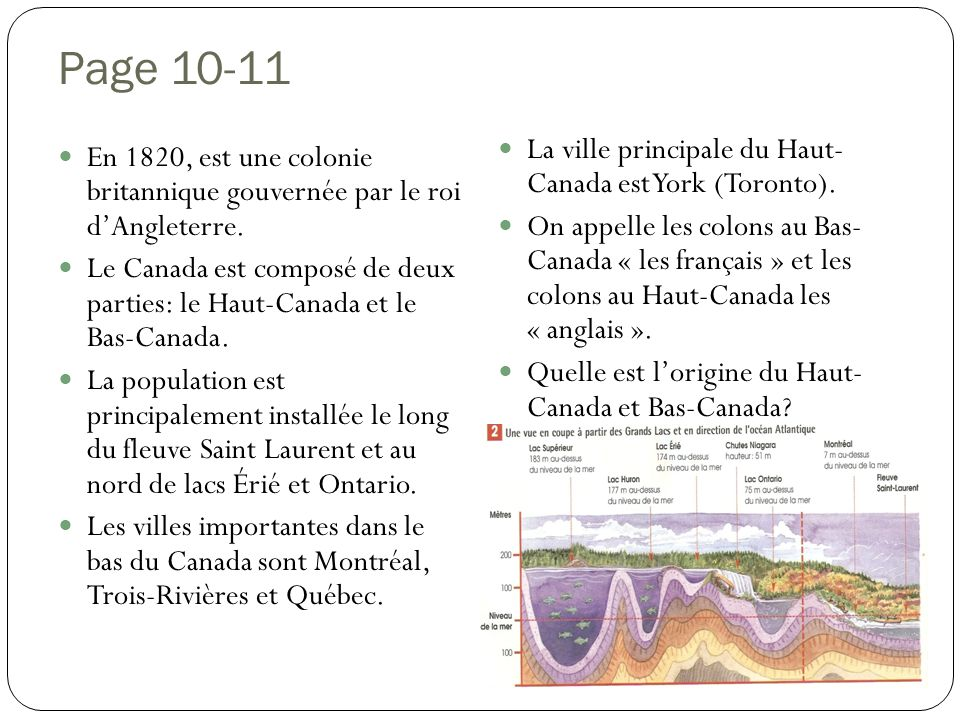 Page 10-11 La ville principale du Haut- Canada est York (Toronto).
