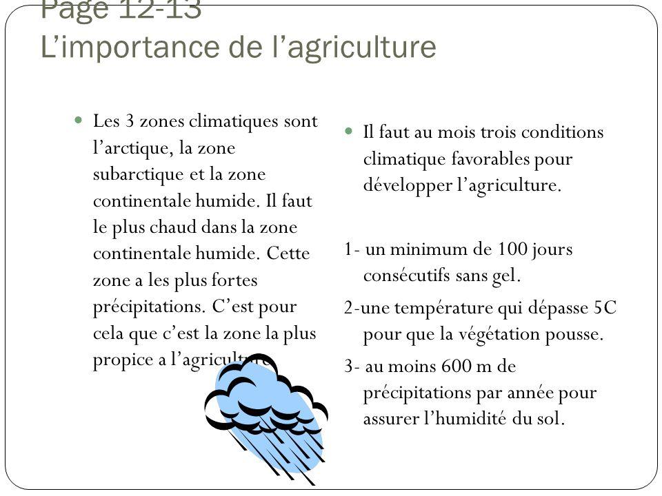 Page 12-13 L'importance de l'agriculture