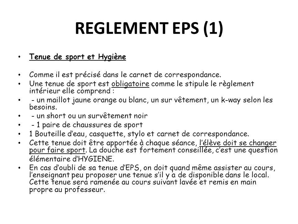 REGLEMENT EPS (1) Tenue de sport et Hygiène