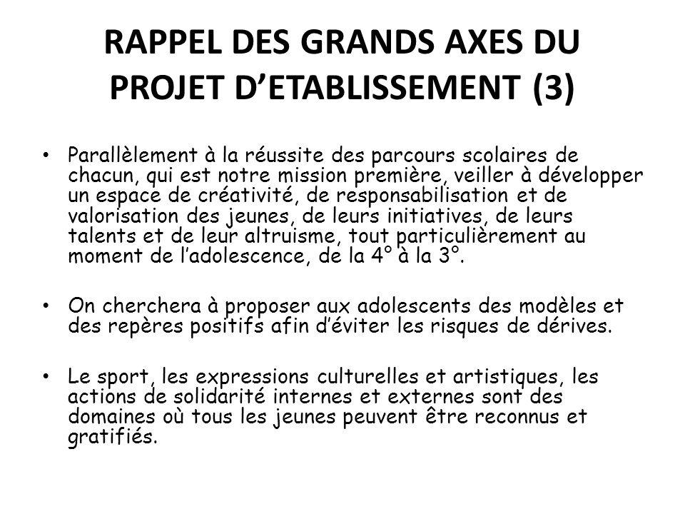 RAPPEL DES GRANDS AXES DU PROJET D'ETABLISSEMENT (3)