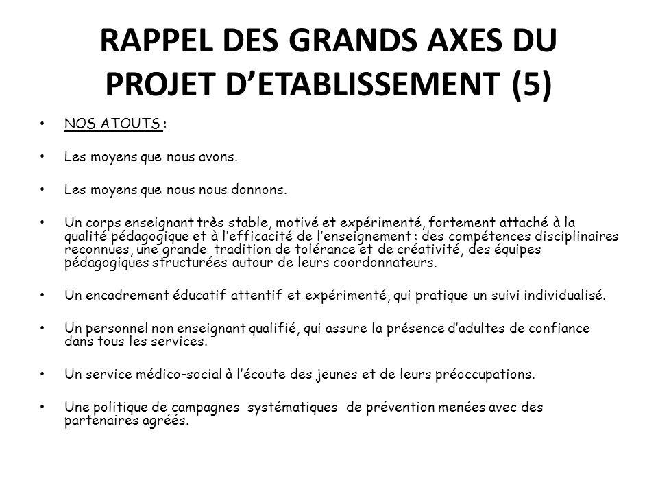 RAPPEL DES GRANDS AXES DU PROJET D'ETABLISSEMENT (5)