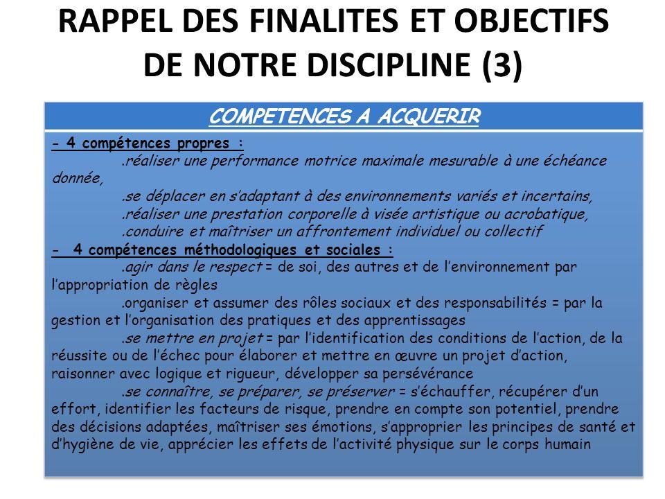 RAPPEL DES FINALITES ET OBJECTIFS DE NOTRE DISCIPLINE (3)