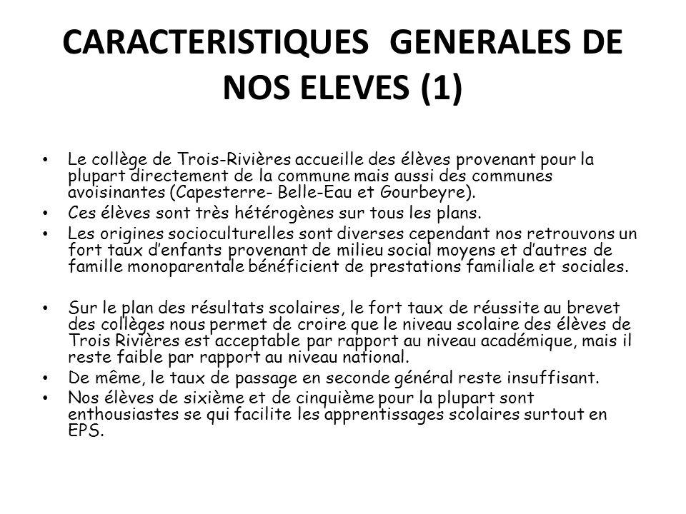 CARACTERISTIQUES GENERALES DE NOS ELEVES (1)