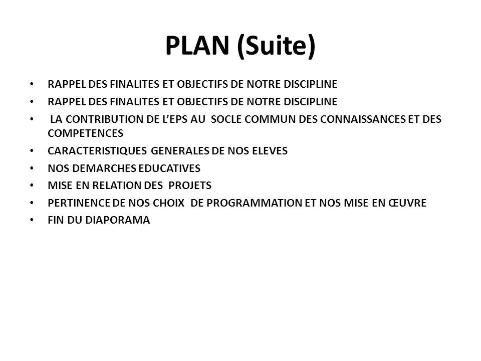 PLAN (Suite) RAPPEL DES FINALITES ET OBJECTIFS DE NOTRE DISCIPLINE